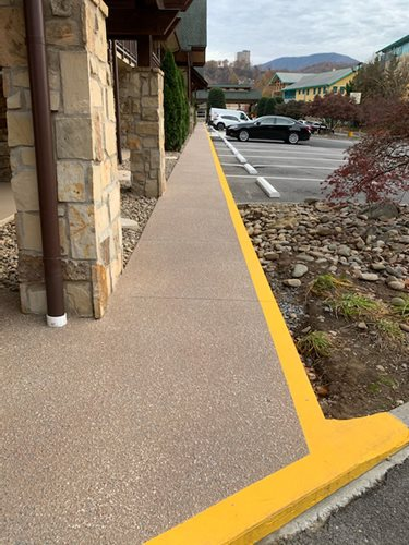 Sunsplash Walkway With Aggregate Effect Commercial (greystone) Walkways & Stairs  Sundek