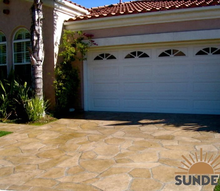 Random Stone Stained Concrete Driveway Test Sundek