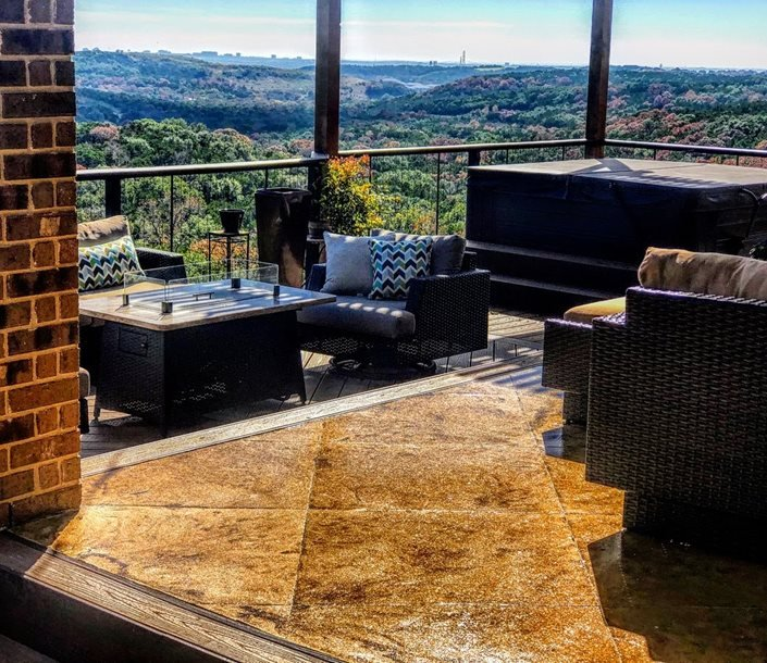 Stained Concrete Patio, Patio With View Test Sundek ,