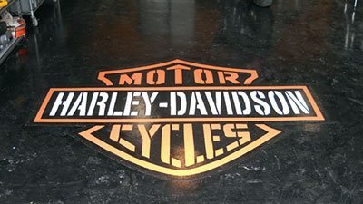 Logo on Garage Floor