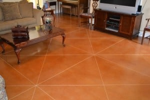 Scored and Stained Concrete Floor