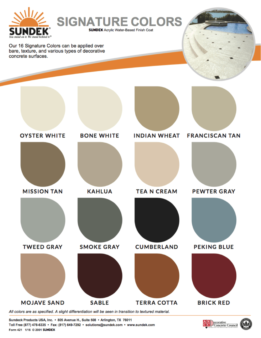 Signature colors sundek concrete coatings and concrete for White is all colors